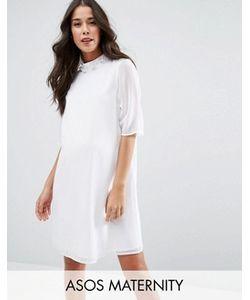 ASOS Maternity | Платье С Короткими Рукавами И Отделкой На Высоком Вороте