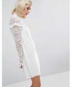 Fashion Union   Цельнокройное Платье С Кружевными Вставками И Оборками
