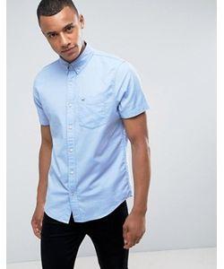 Hollister | Синяя Эластичная Приталенная Оксфордская Рубашка С Короткими Рукавами