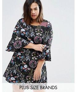 Yumi Plus | Цельнокройное Платье С Рюшами На Рукавах И Принтом В Стиле Пэтчворк