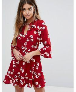 boohoo | Чайное Платье С Цветочным Принтом И Оборками
