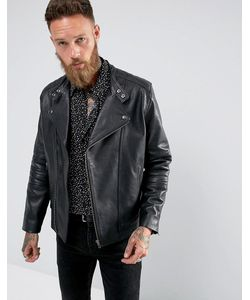 Black Dust | Черная Кожаная Байкерская Куртка Bubbla