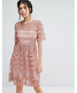 Love Triangle | Lace Double Layer Skater Dress