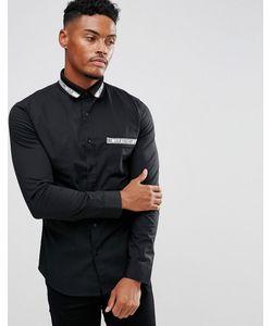 Love Moschino | Черная Рубашка С Жаккардовым Воротником
