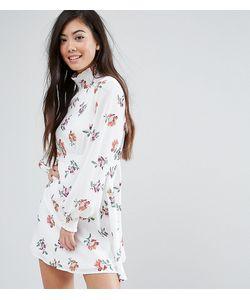 Fashion Union Petite   Короткое Приталенное Платье С Высоким Воротом И Принтом