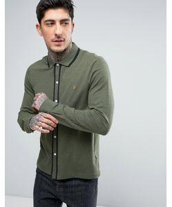 Farah   Зеленая Меланжевая Рубашка Слим Из Пике С Кантом Jenkins
