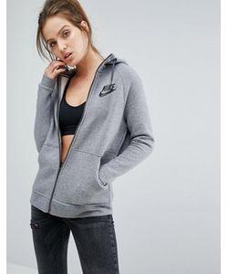 Nike | Серое Худи На Молнии С Большим Логотипом
