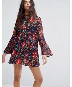 MISSGUIDED | Свободное Плиссированное Платье С Цветочным Принтом