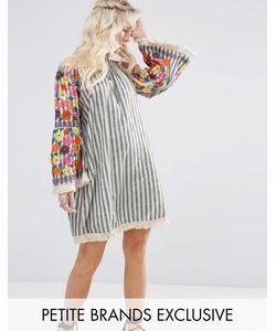 Glamorous Petite | Платье С Цветочной Вышивкой На Рукавах