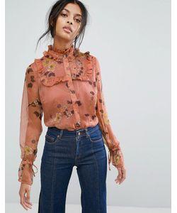 Gestuz   Шифоновая Рубашка С Цветочным Принтом И Оборками