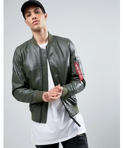 Alpha Industries | Ma1 Leather Bomber Jacket In