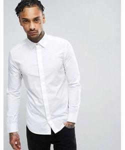 Diesel | Белая Эластичная Приталенная Рубашка Со Скрытой Планкой S-Nap