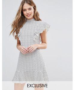 Closet London | Платье С Отделкой Рюшами В Горошек