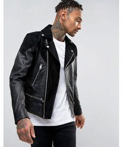 Diesel   Байкерская Куртка Из Кожи И Замши С Молниями L-Bort