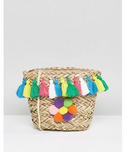 Glamorous | Straw Cross Body Bag With Multi Coloured Pom Detail