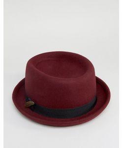 Asos | Бордовая Фетровая Шляпа С Загнутыми Кверху Полями И Пером