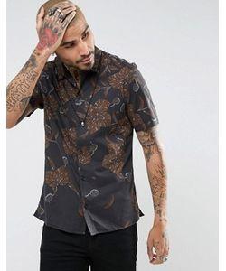 ALLSAINTS | Рубашка Классического Кроя С Короткими Рукавами И Цветочным Принтом