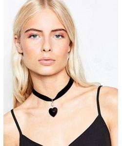 Krystal | Короткое Бархатное Ожерелье С Подвеской-Сердечком