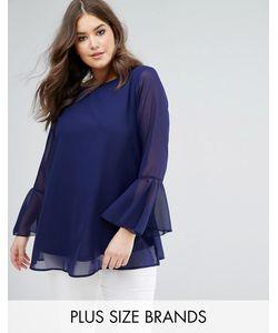 Koko | Темно-Синяя Блузка С Рукавами Клеш И Вышивкой