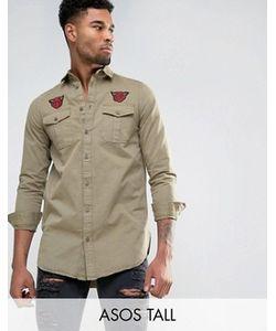 Asos | Состаренная Супердлинная Рубашка Навыпуск С Нашивками Tall