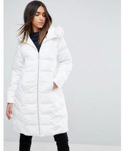 Asos | Длинное Стеганое Пальто С Искусственным Мехом