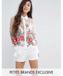 Fashion Union Petite   Рубашка С Цветочной Вышивкой