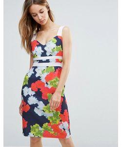 Vesper | Платье-Футляр С Контрастными Лямками И Цветочным Принтом