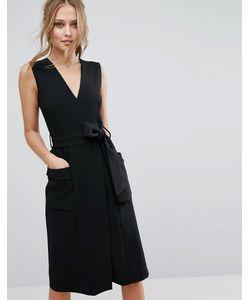 Closet London   Платье Миди С V-Образным Вырезом И Карманами Closet