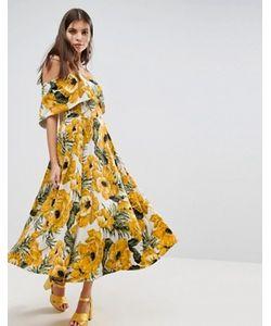 Asos | Платье Миди С Вырезом Лодочкой И Цветочным Принтом
