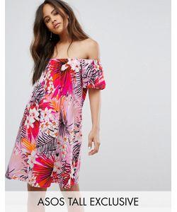 ASOS TALL | Платье Мини С Открытыми Плечами И Цветочным Принтом