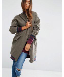 Asos | Длинная Куртка С Подкладкой Из Искусственного Меха В Клетку