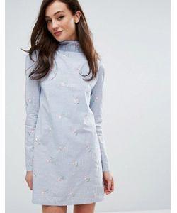 Fashion Union   Платье В Полоску С Вышивкой И Высокой Горловиной