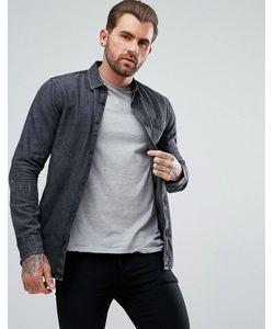 New Look | Черная Джинсовая Рубашка Классического Кроя С Эффектом Кислотной Стирки