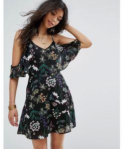 boohoo | Кружевное Платье С Цветочным Принтом И Открытыми Плечами
