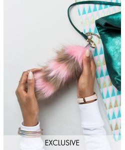 My Accessories | Faux Fox Tail Keyring In Stripe