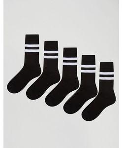 Asos | 5 Пар Черных Спортивных Носков С Полосками