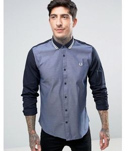 Fred Perry | Темно-Синяя Оксфордская Рубашка С Контрастными Рукавами