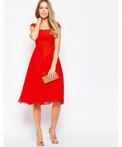 Asos | Платье Миди В Складку С Короткими Рукавами Premium Красный