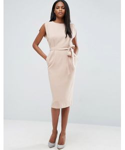 Asos | Платье Миди С Поясом Разрезами На Рукавах И Юбкойкарандаш