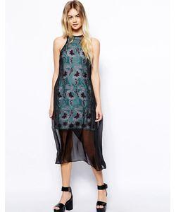ASOS Africa | Кружевное Платье Макси С Полупрозрачным Верхним Слоем Мульти