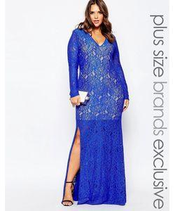 Forever Unique Plus | Кружевное Платье Макси Размера Плюс С Глубоким Вырезом Forever Unique