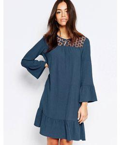 Esprit | Цельнокройное Платье С Кружевной Кокеткой Серо-Синий