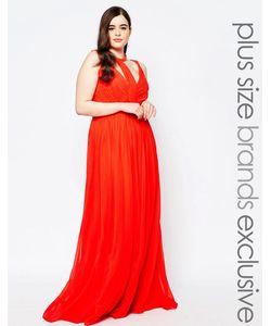 Forever Unique Plus | Шифоновое Платье Макси Со Вставками Оранжевый