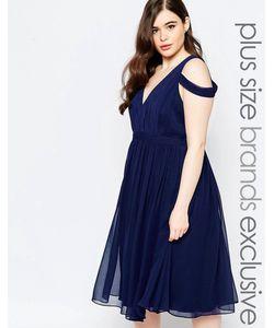 Forever Unique Plus | Платье Миди С Глубоким Вырезом И Открытыми Плечами