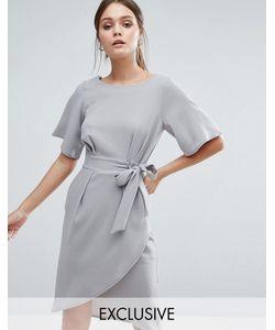 Closet London | Платье С Рукавамикимоно И Завязкой Спереди Closet Светло-Серый