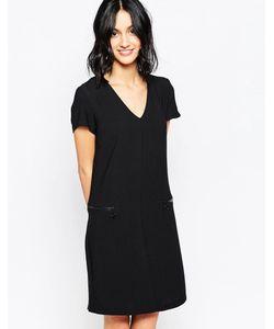 Only | Цельнокройное Платье С Vобразным Вырезом И Молниями Черный