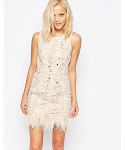 Greylin | Платье С Отделкой Перьями Miri