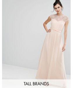 Little Mistress Tall | Платье Макси C Кружевной Вставкой Телесный
