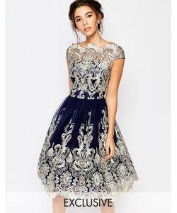 Chi Chi London   Кружевное Платье Миди Для Выпускного С Вырезом Лодочкой