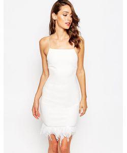 Sistaglam | Платье С Отделкой Перьями По Краю Fleur Белый